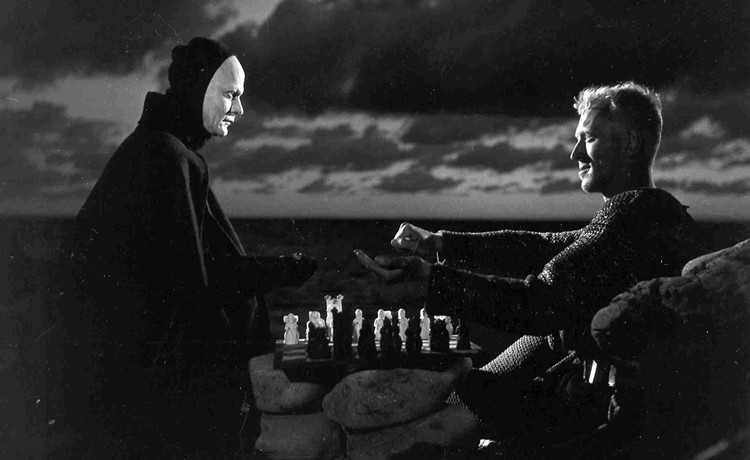 The Seventh Seal 01 Bengt Ekerot as Death and Max Von Sydow as The Knight-750x460
